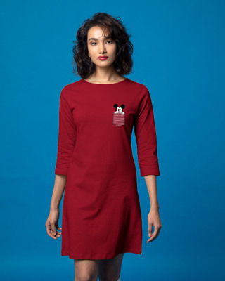 Shop Peeping Mickey Boat Neck 3/4th Sleeve T-Shirt Dress (DL)-Front