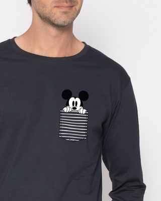Shop Peeping Mickey Full Sleeve T-Shirt (DL)-Front
