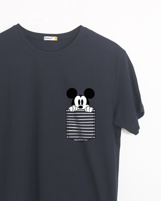 Shop Peeping Mickey Half Sleeve T-Shirt (DL)-Front