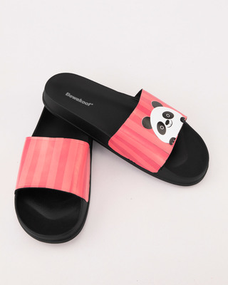 Shop Women Peeping Panda Sliders-Front