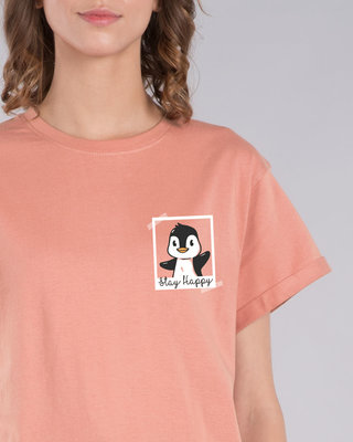 Shop Penguin Polaroid Boyfriend T-Shirt-Front