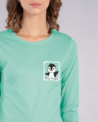 Shop Penguin Polaroid Round Neck 3/4th Sleeve T-Shirt-Front