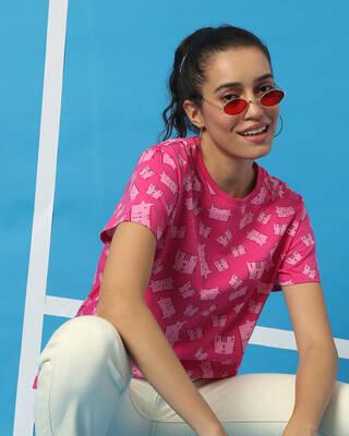 Shop Peppy Pink AOP T-Shirt-Front