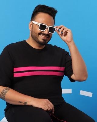 Shop Peppy Pink Plus Size Round Neck Color Block T-Shirt-Front