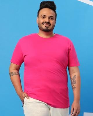 Shop Peppy Pink Plus Size Round Neck Hem T-Shirt-Front