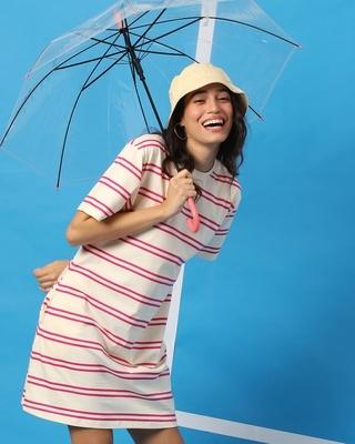 Shop Peppy Pink Stripe Pocket Dress-Front