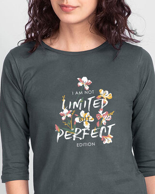 Shop Perfect Flower Round Neck 3/4 Sleeve T-Shirts Nimbus Grey-Front