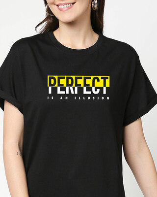 Shop Perfect Illusion Boyfriend T-Shirts Black-Front