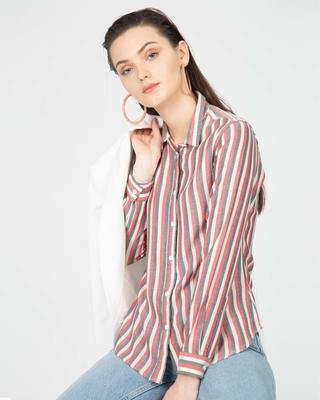 Shop Peru Black Slim Cotton Stripe Shirt-Front