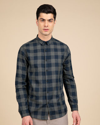 Shop Pewter Blue Checked Shirt-Front
