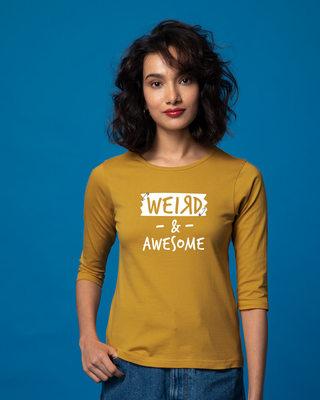 Shop Pin Weird Round Neck 3/4th Sleeve T-Shirt-Front