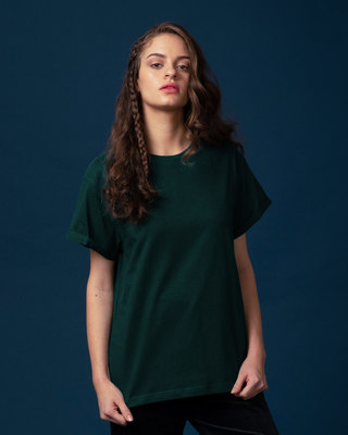 Shop Pine Green Boyfriend T-Shirt-Front
