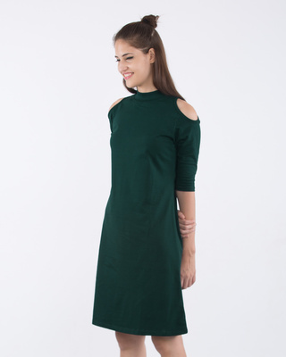 Shop Pine Green Cold Shoulder T-Shirt Dress-Front