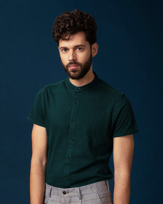 Shop Pine Green Mandarin Collar Pique Shirt-Front