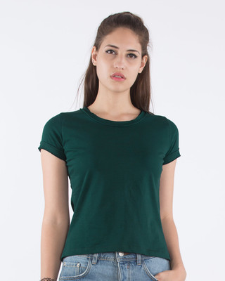 Shop Pine Green Raw Edge T-Shirt-Front