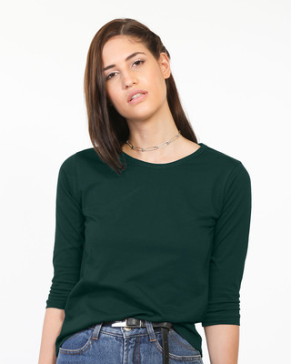 Shop Pine Green Round Neck 3/4th Sleeve T-Shirt-Front