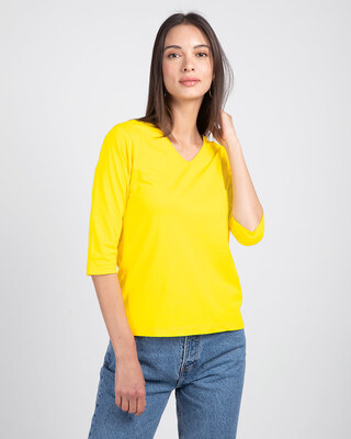 Shop Pineapple Yellow 3/4 V Neck T-Shirt-Front