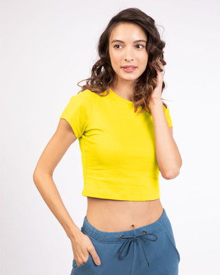 Shop Pineapple Yellow  Crop Top T-Shirt-Front
