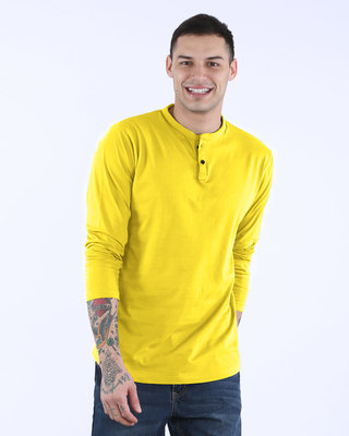 Shop Pineapple Yellow Full Sleeve Henley T-Shirt-Front