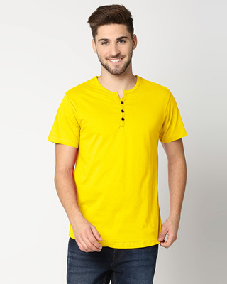 Shop Pineapple Yellow Half Sleeve Henley T-Shirt-Front