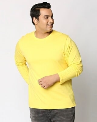 Shop Pineapple Yellow Plus Size Full Sleeve T-Shirt-Front