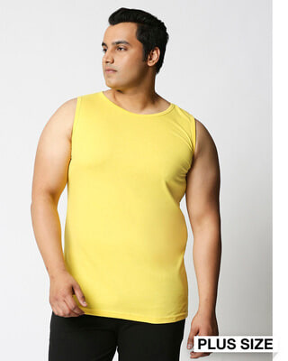 Shop Pineapple Yellow Plus Size Vest-Front