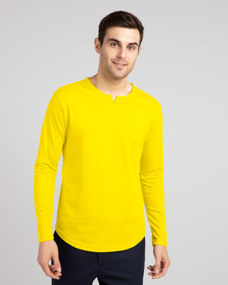 Shop Pineapple Yellow Slit Neck Full Sleeve Henley T-Shirt-Front