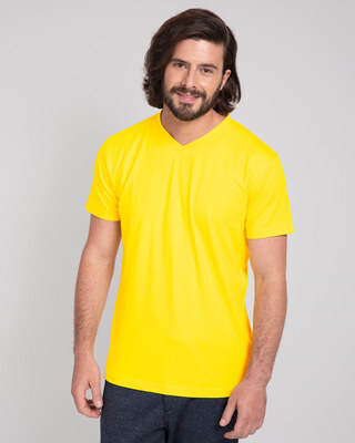 Shop Pineapple Yellow V-Neck T-Shirt-Front