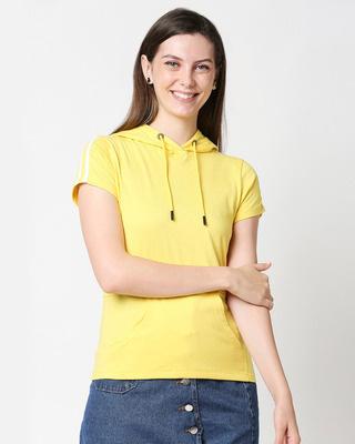 Shop Pineapple Yellow-White Half Sleeve Hoodie T-Shirt-Front