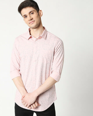 Shop Pink Blue Cotton Melange Shirt-Front