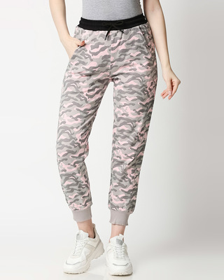 Shop Pink Camo Casual Jogger Pants-Front