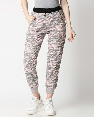 Shop Pink Camo Casual Jogger Pants-Front