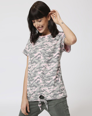Shop Pink Camo Tie Up Boyfriend T-Shirt-Front