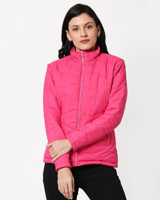 Shop Pink Chill Block Puffer Jacket-Front