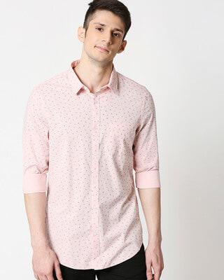 Shop Pink Cotton Melange Shirt-Front
