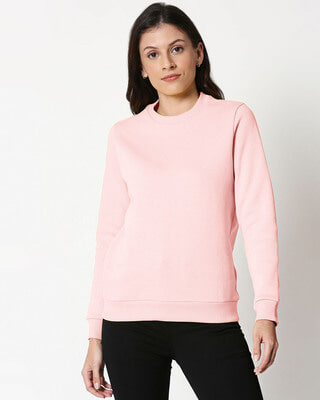 Shop PinkMelange Fleece Sweater-Front