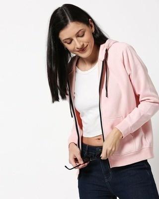 Shop Pink Melange Zipper Hoodie-Front