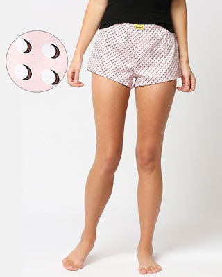 Shop Pink Polka All Over Print Boxer-Front