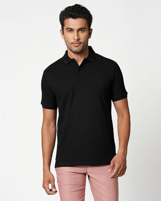 Shop Pitch Black Classic Polo-Front