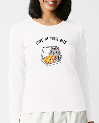 Shop Pizza Cat Full Sleeves T Shirt White-Front