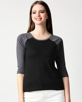 Shop Plain 3/4th Sleeve Raglan T-Shirt-Front