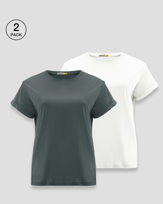 Shop Plain Boyfriend T-Shirt - Combo-Front