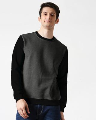 Shop Anthra Melange Contrast Fleece Sweater-Front