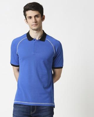 Shop Baleine Blue Half Sleeve Raglan Contrast Polo-Front