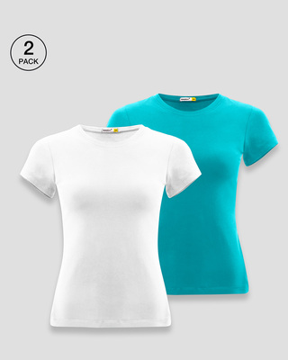 Shop Plain Half Sleeve T-shirt - Pack of 2-Front