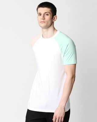 Shop White Contrast Sleeve Raglan T-Shirt-Front