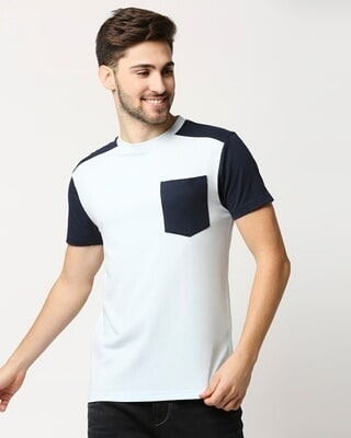 Shop Ice Water Color Block Pocket T-Shirt-Front