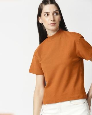 Shop Plain Half Sleeves Turtle Neck T-Shirt-Front
