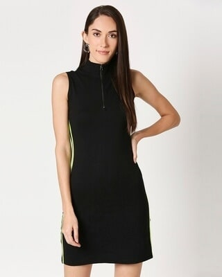 Shop Women's High Neck Tape Rib Dress-Front