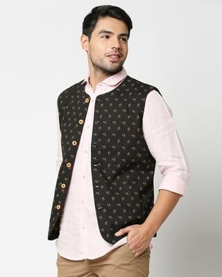 Shop Men's All Over Printed Nehru Jacket-Front